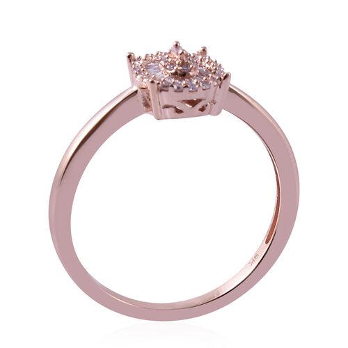 9K Rose Gold Natural Pink Diamond (Rnd and Bgt) Ring 0.20 Ct.