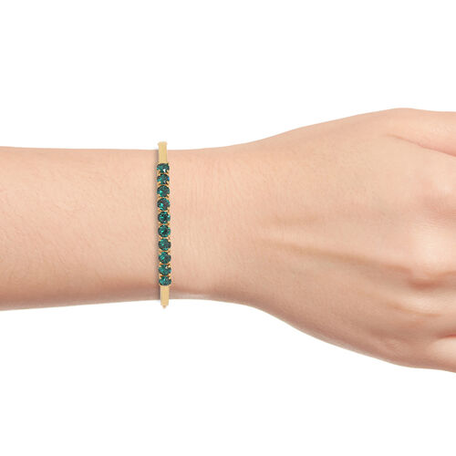 J Francis Crystal from Swarovski - Emerald Colour Crystal (Rnd) Bangle (Size 7.5) in Yellow Gold Plating