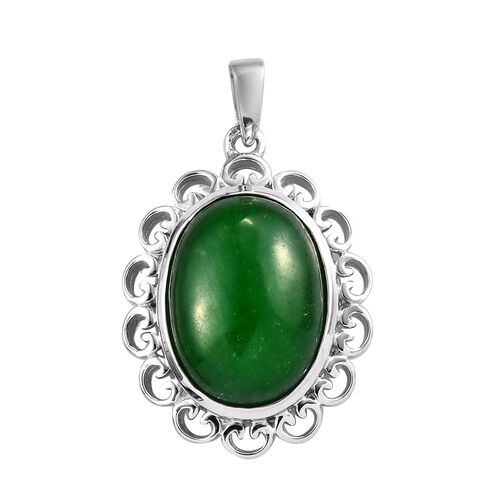 11 Carat Green Jade Solitaire Pendant in Platinum Plated Sterling Silver