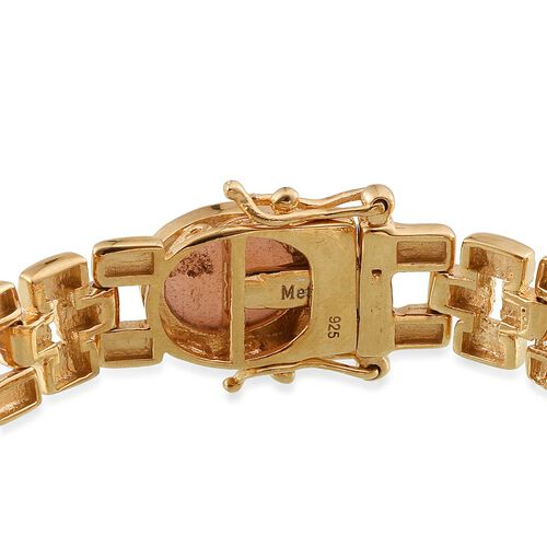 Morogoro Peach Sunstone (Ovl) Bracelet (Size 7.5) in 14K Gold Overlay Sterling Silver 26.000 Ct.