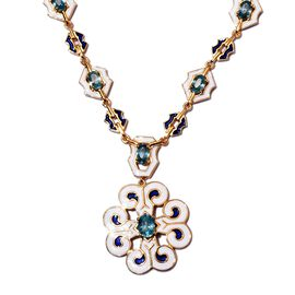 Ratanakiri Blue Zircon Enamelled Floral Necklace (Size 18) in 14K Gold Overlay Sterling Silver 6.00
