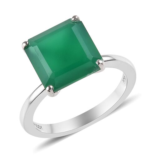 RHAPSODY 5 Carat Verde Onyx Asscher Cut Solitaire Ring in 950 Platinum 4.50 grams