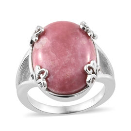 Zaire Rhodonite (Ovl) Ring in Platinum Plated 15.000 Ct.