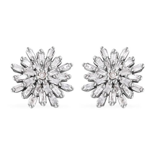 Diamond (Rnd and Bgt) Snow Flake Earrings (with Push Back) in Platinum Overlay Sterling Silver
