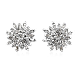 Diamond (Rnd and Bgt) Snow Flake Earrings (with Push Black) in Platinum Overlay Sterling Silver