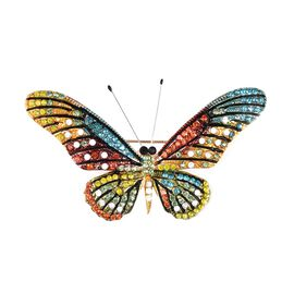 Multi Colour Austrian Crystal Butterfly Brooch in Gold Tone with Enameled