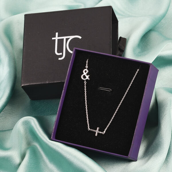 Personalised Single Alphabet + Cross, Name Necklce in Silver, Size 18+2 Inch