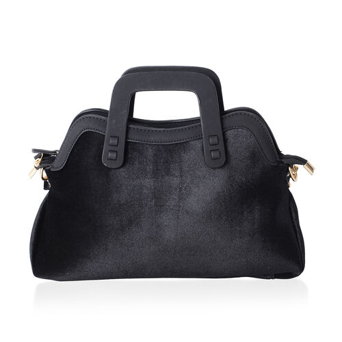 LUXE VELVET Classic Black Tote Handbag with Adjust Shoulder Strap ( 33x12x19 cm )