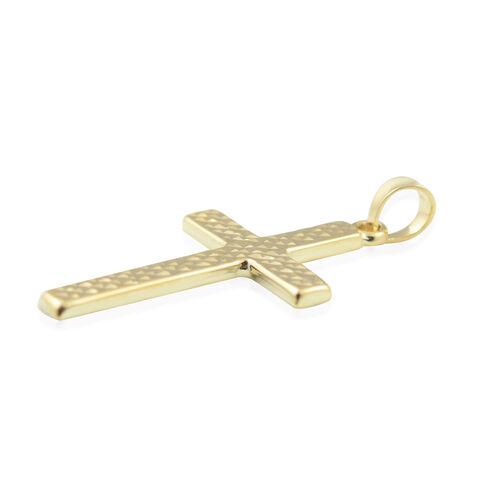 Vicenza Close Out 9K Yellow Gold Diamond Cut Cross Pendant