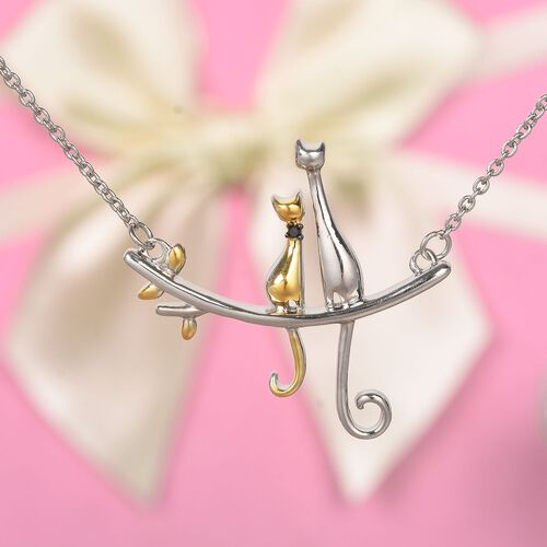 Black Diamond Cat Sitting on Branch Necklace (Size 18) in Platinum and Yellow Gold Overlay Sterling Silver, Silver wt. 6.00 Gms.