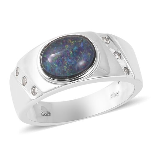 Australian Boulder Opal and Natural Cambodian Zircon Ring in Rhodium Overlay Sterling Silver, Silver