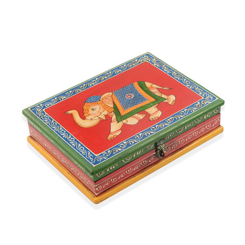 Royal Elephant Vibrant Colour Hand Painted Storage Jewellery  Box