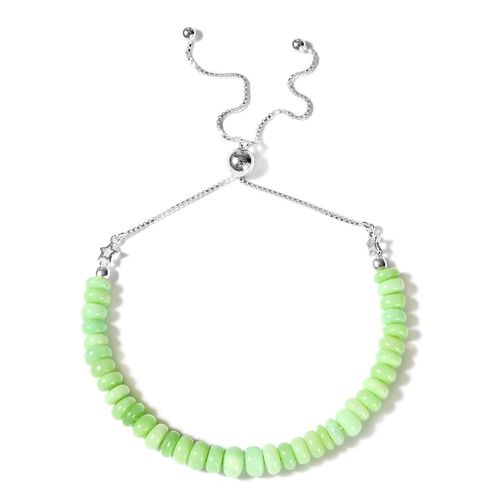 Mint Green Opal Adjustable Bolo Beads Bracelet (Size 6-9.5) in Sterling Silver 22.60 Ct.