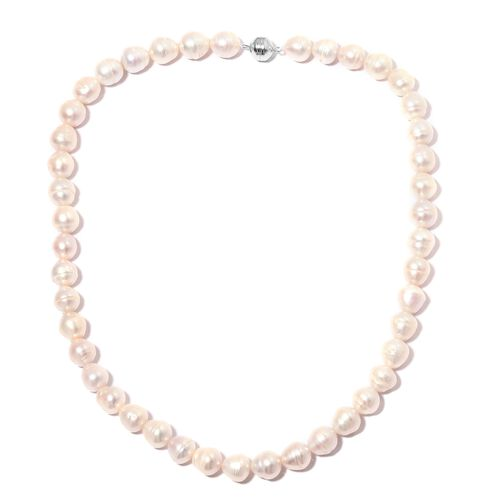 One Time Deal- Double Lustre Fresh Water Boroque Pearl Necklace with Magnetic Clasp (Size 20) in Rho