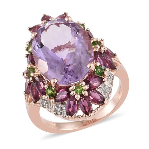 Rose De France Amethyst (Ovl 11.25 Ct), Rhodolite Garnet and Russian Diopside Ring in Rhodium and Ro