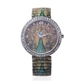 STRADA Japanese Movement Green Peacock Pattern Water Resistance White Austrian Crystal Studded Brace