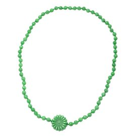 Carved Green Jade Beaded Necklace 28 Inch 370 Ct