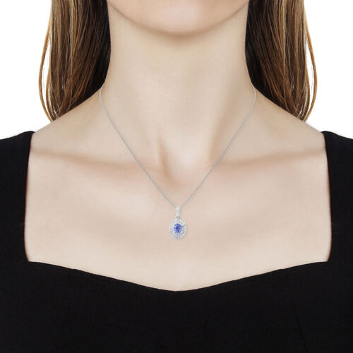 Signature Collection - Extremely Rare Size Ceylon Sapphire (Ovl 1.05 Ct), Natural Zircon Double Halo Pendant with Chain in Rhodium Overlay Sterling Silver 2.270 Ct.