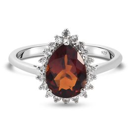 Cherry Citrine and Natural Cambodian Zircon Ring in Platinum Overlay Sterling Silver 1.94 Ct.