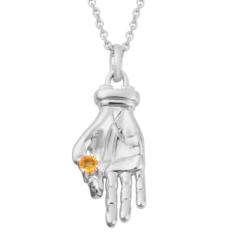 Sundays Child - Citrine Hand Pendant with Chain (Size 20) in Platinum Overlay Sterling Silver