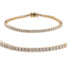 New York Close Out 14K Yellow Gold Diamond (Rnd) (I3/G-H) Bracelet (Size 7.5) 4.00 Ct, Gold wt 11.00 Gms.