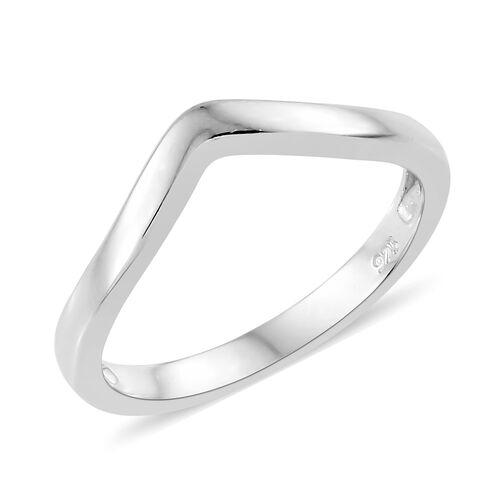 Platinum Overlay Sterling Silver Wishbone V Shape Stacker Silver Ring