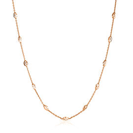 Diamond Cut Oval Bead Station Chain in Rose Gold Plated Sterling Silver 5.37 Grams 24 Inch