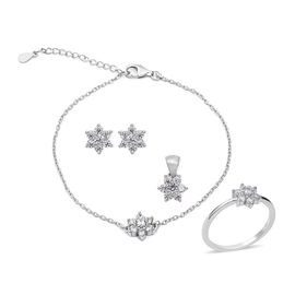 4 Piece Set - ELANZA Simulated Diamond (Rnd) Adjustable Bracelet (Size 7 inch 1 inch Extender), Ring