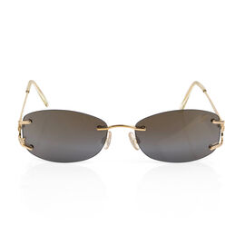 CHOPARD Eye Couture Sunglasses - 23k Gold Plated, Crystal Set - Brown