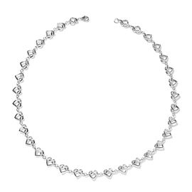 LucyQ Rhodium Overlay Sterling Silver Entwined Heart Necklace (Size 18), Silver wt 20.00 Gms