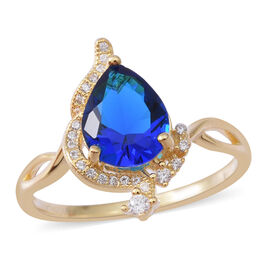 Designer Inspired- ELANZA Simulated Blue Sapphire (Pear), Simulated Diamond Ring in  14K Gold Overla
