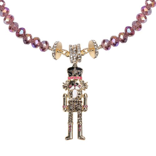 Multi Colour Austrian Crystal and Multi Gemstone Enamelled Robotic Old Man Detachable with Magnet Pendant Necklace (Size 20)