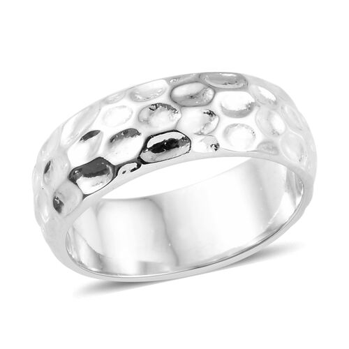 7mm Texture Band Ring in Platinum Plated 925S Silver