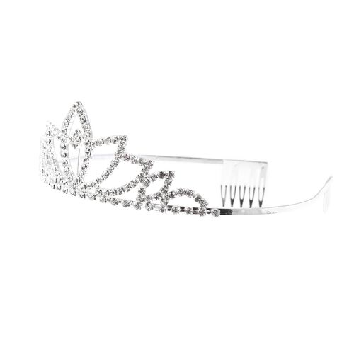 3 Piece Set - White Austrian Crystal (Rnd) Necklace (Size 16 with 7 inch Extender), Tiara and Earrings (with Push Back)