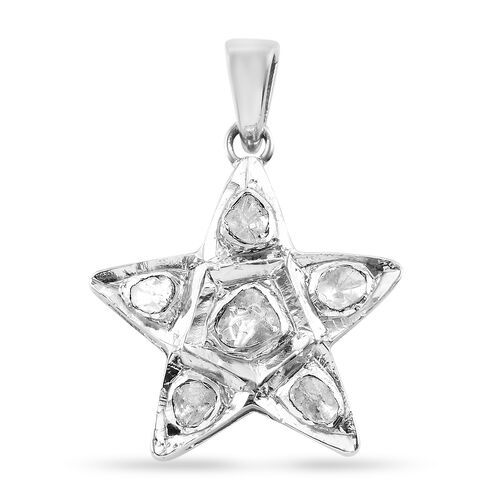 Artisan Crafted Polki Diamond Star Pendant with Chain (Size 18) in Platinum Overlay Sterling Silver