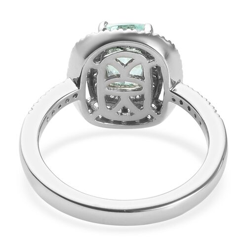 Limited Available- RHAPSODY 950 Platinum AAAA Mozambique Paraiba Tourmaline (Cush 7x5mm), Diamond (VS/E-F) Ring 1.08 Ct, Platinum wt 6.16 Gms