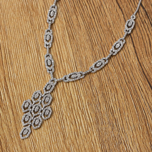 Diamond Necklace (Size 18) in Platinum Overlay Sterling Silver 1.50 Ct, Silver wt 13.00 Gms