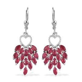 African Ruby Dangle Lever Back Earrings in Platinum Overlay Sterling Silver 6.25 Ct.