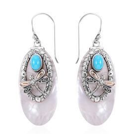 Bali Legacy Collection - Arizona Sleeping Beauty Turquoise (Ovl), Mother of Pearl Hook Earrings in 18K Yellow Gold and Sterling Silver 1.720 Ct, Metal wt 10.07 Gms.