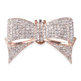 White Austrian Crystal (Rnd) Bow Tie Accessory in Rose Tone