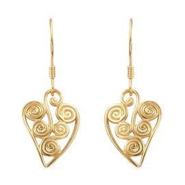 14K Gold Overlay Sterling Silver Hook Earrings, Silver wt 3.95 Gms