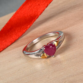 Personalise Engravable Solitaire Heart Shape Ruby Ring