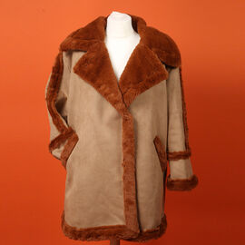 Urban Mist Faux Fur Suede Shearling Soft Fleece Lined Collar Coat with Pockets - Rust Brown