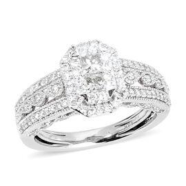 14K White Gold Diamond (Sqr and Rnd) (I1-I2/G-H) Ring 1.000 Ct. Gold wt 6.40 Gms.