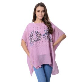 Italian Designer Inspired- Purple and Multi Colour Top with Embroidery Flower and Golden Colour Sequ