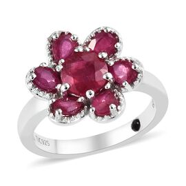 GP 2.25 Ct African Ruby and Blue Sapphire Floral Ring in Platinum Plated Sterling Silver 4.57 Grams