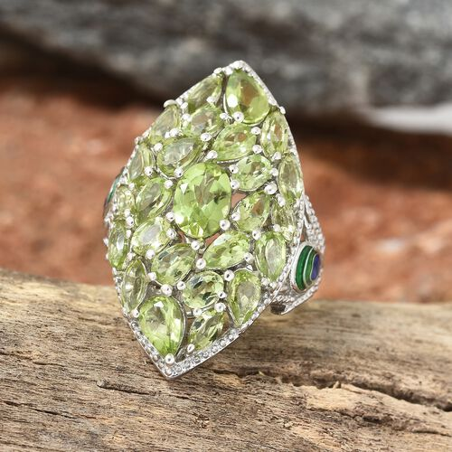 Hebei Peridot (6.00 Ct) Platinum Overlay Sterling Silver Ring  6.000  Ct.
