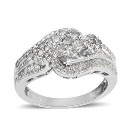 New York Close Out Deal- 9K White Gold Diamond (Rnd) (I3/G-H) 3 Flower Bypass Ring 1.00  Ct, Gold wt 5.20 Gms.