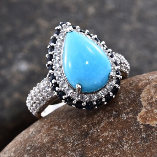 Arizona Sleeping Beauty Turquoise (Pear 4.85 Ct), Natural Cambodian Zircon and Kanchanaburi Blue Sapphire Ring in Platinum Overlay Sterling Silver 7.250 Ct. Silver wt. 5.17 Gms.