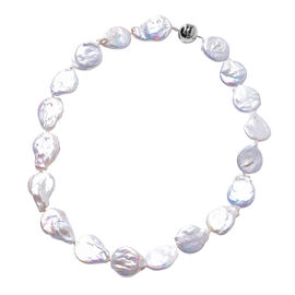 Keshi White Pearl Necklace (Size 20) in Rhodium Overlay Sterling Silver